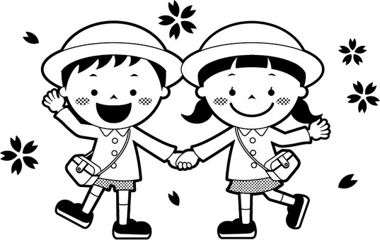 Children holding hands (with hat, monochrome)