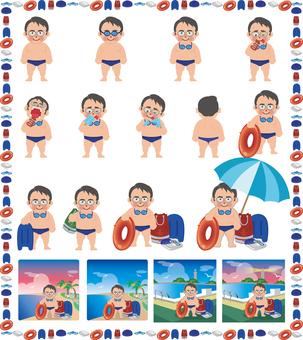 水泳男子セット(会社員風)