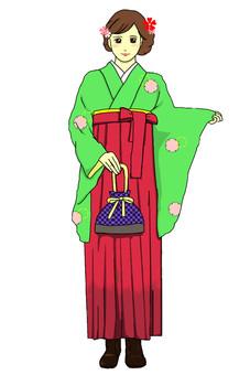 畢業典禮Hakama雪環綠色