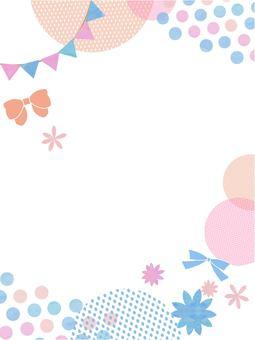 귀여운 리본 수채화 프레임