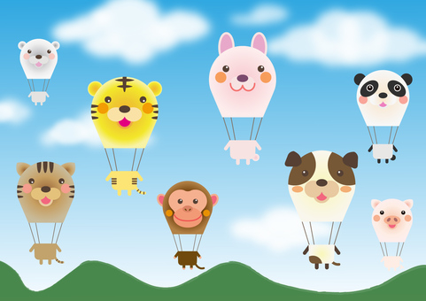 animal_8 kinds of animal balloon _ blue sky
