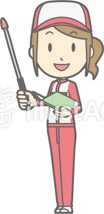 整備士女性-指示棒1左斜め-全身のイラスト