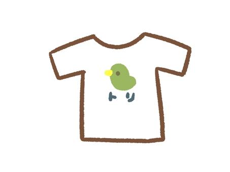 鳥の絵がついたTシャツ