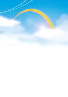 Rainbow and blue sky vertical