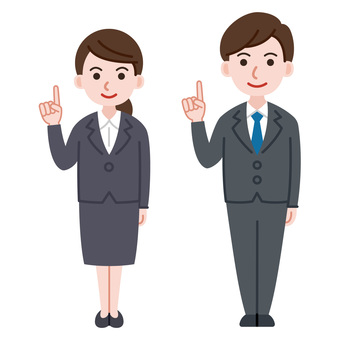 Men and women in suits pointing pose