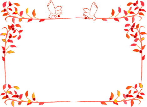 나뭇잎과 조류의 테두리 가을 이미지