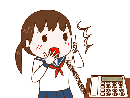 Surprised female student on the phone