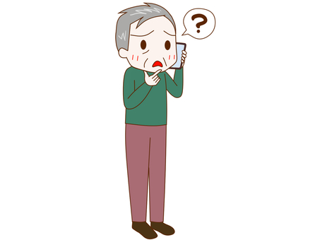 An old man who has a question on a smartphone