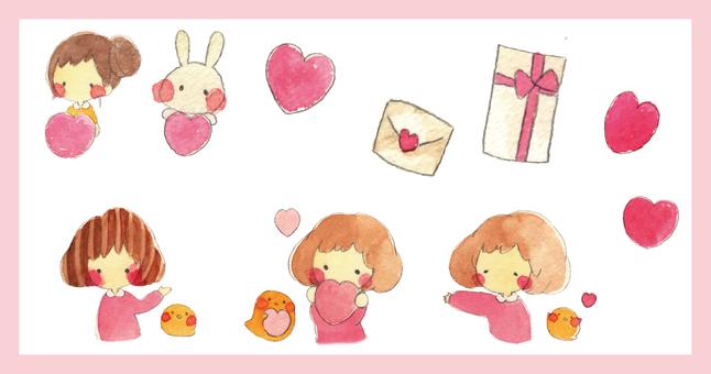 【Hand Drawing】 Girl Illustration Set