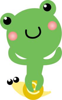 Cute frog sitting on a cute snail
