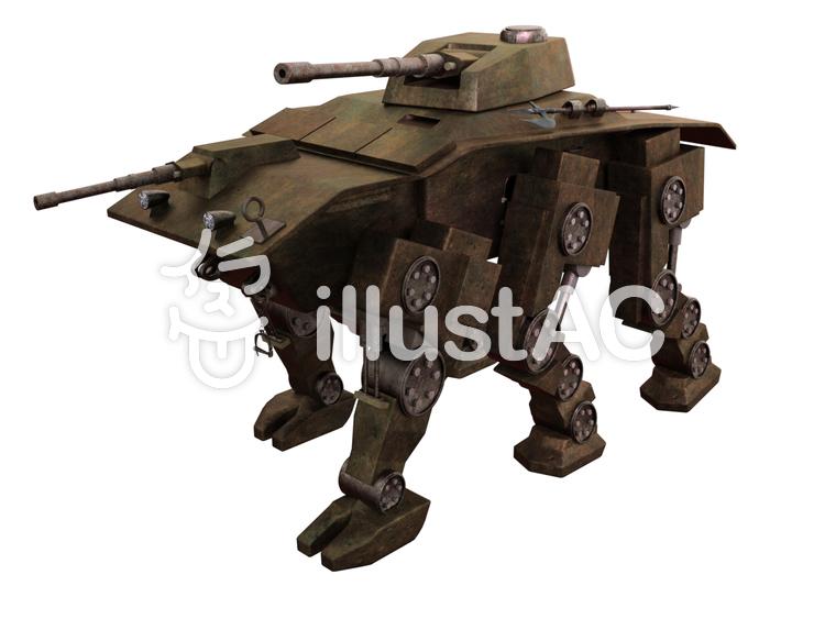 六つの足を持つ歩行型戦車のイラスト