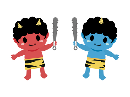 Red Demon and Blue Demon with Gold Rod