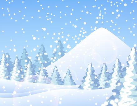 Snowy Mountain and Cedar Tree _ Snow