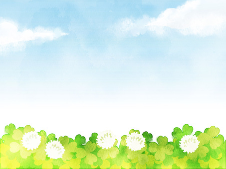 Watercolor-like clover and blue sky frame
