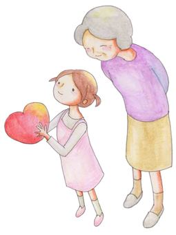 Girl with heart and grandmother