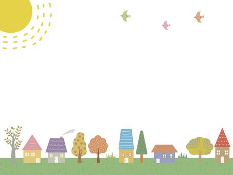 家と木のフレーム