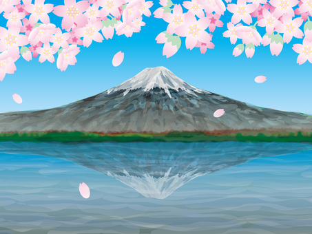 Fuji (7), the lake and spring cherry blossoms