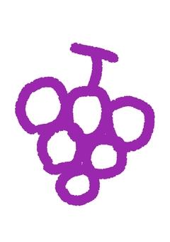 Handwritten grape crayon style