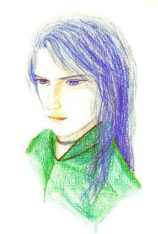 파란 머리 인물