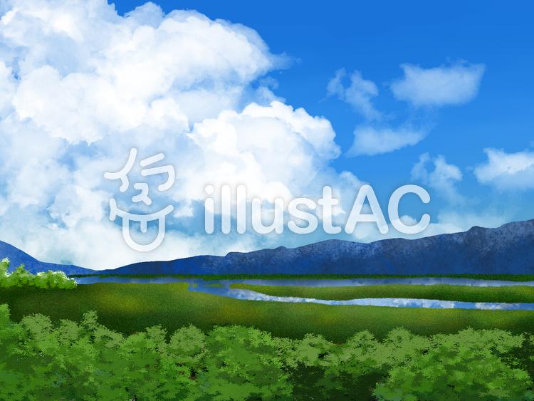 【フリーイラスト素材】湿原景色