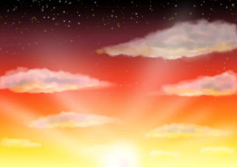 日落和雲彩