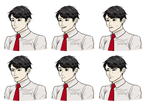 Male character shirt A facial expression difference