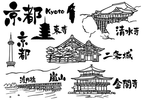 Hand drawn_Kyoto set