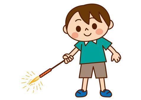 Boys enjoying handheld fireworks