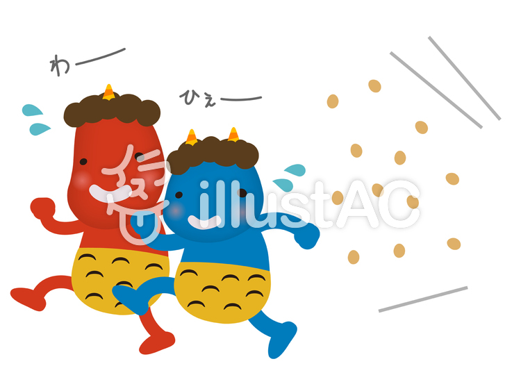赤鬼と青鬼の豆まき節分鬼退治イラスト No 1008071無料イラスト