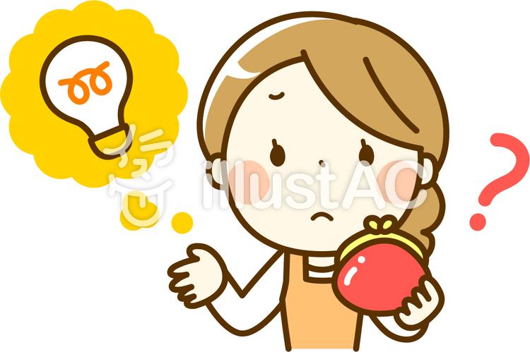 電気料金に悩む主婦のイラスト