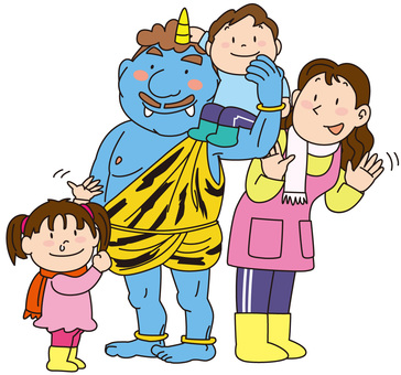 Teacher with Blue Demons and Children