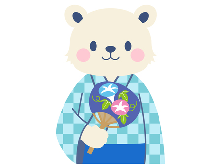 【Summer】 Yukata polar bear illustration