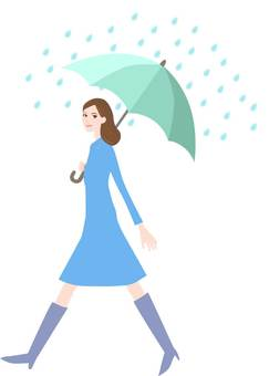 A woman with an umbrella