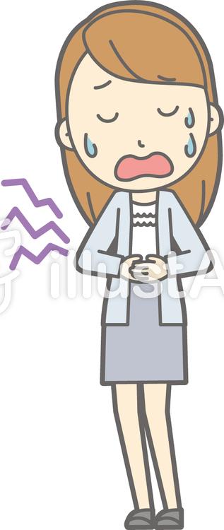 女子大生a-腹痛-全身のイラスト