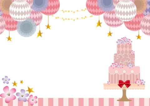 Cake, star and flower frame