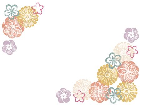 お花のスタンプフレーム002