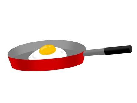 프라이팬과 계란 후라이 레드