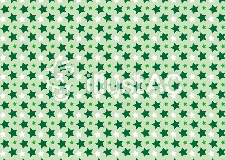 背景パターン 星(緑)のイラスト