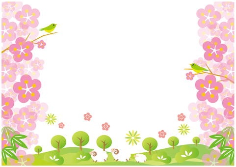 Plum flower background and sheep