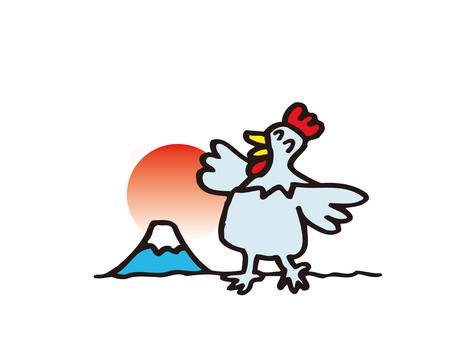 Chickens and Mt. Fuji
