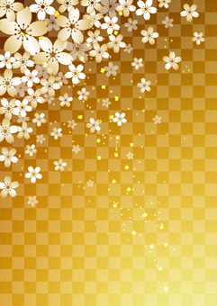 Cherry blossoms _ gilt _ gold leaf _ longitudinal background