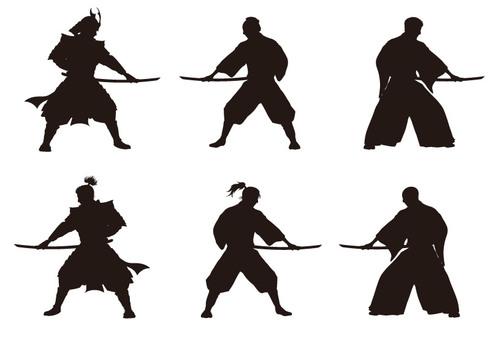 Samurai silhouette set material 4