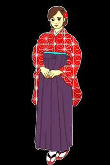 畢業典禮hakama紅色mako葉子