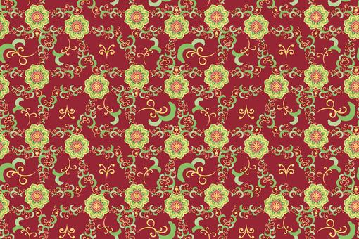 중국 문양 - 꽃 배경 패턴 1 · 녹색