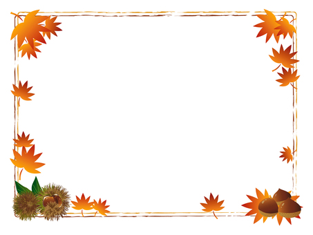 Chestnut and autumn leaves frame