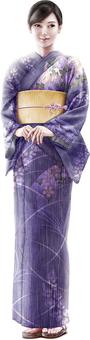 Beautiful woman wearing purple kimono whole body