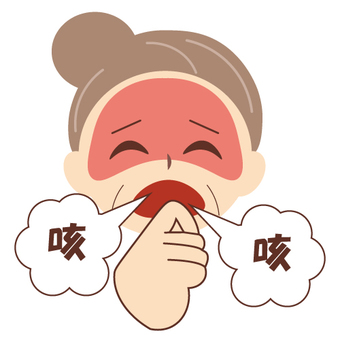 An elderly woman who is coughing