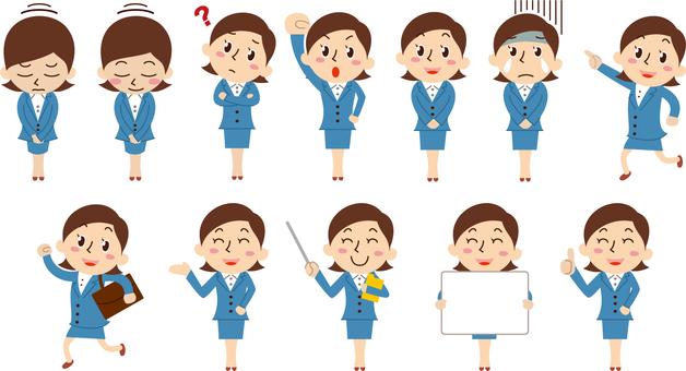 Office worker woman set