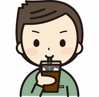 Men drinking takeaway coffee