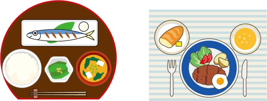 Japanese food and Western food